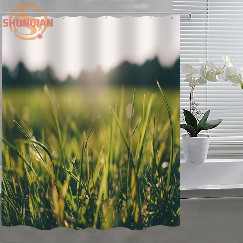 Green natural grass Custom Shower Curtain Fabric polyester Bathroom Curtain Acceptable Custom Curtains for bath