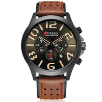 Curren Mens Watches Top Brand Luxury Men Military Sport Wristwatches Chronograph Leather Quartz Men Watch Relogio