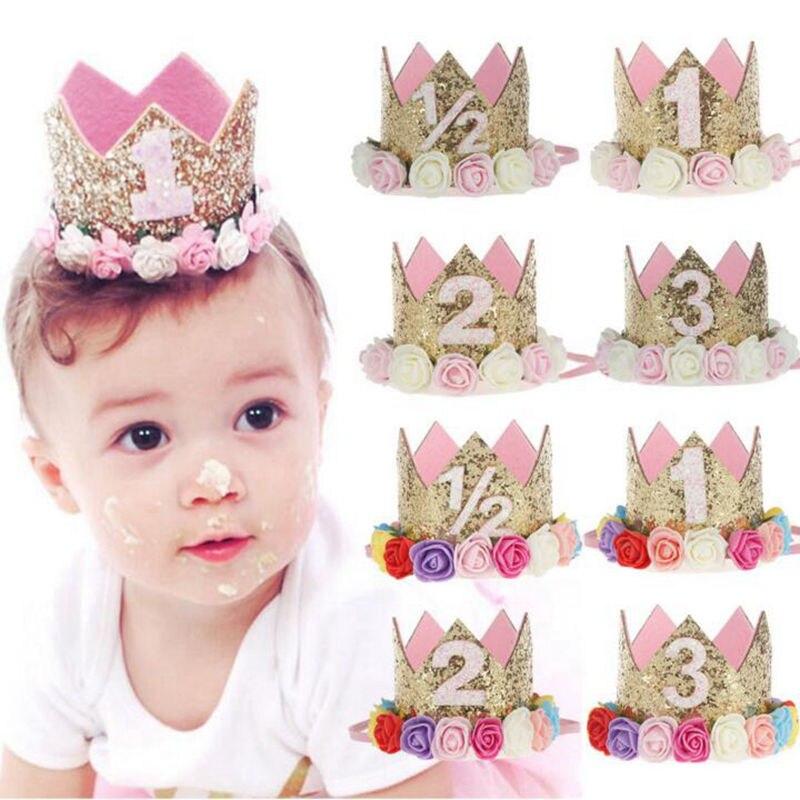 Yundfly Flower Crown Newborn Headband Tiara Rose Flower Hairband Baby Girls Birthday Party Hat Headwear Hair Bands