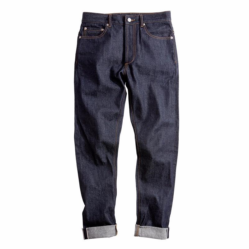Горячие мужские необработанного денима джинсы Hot 14 унц. Selvedge тонкий прямой Эластичность ноги джинсы Safari Стиль Длинные прямые брюки повседне...