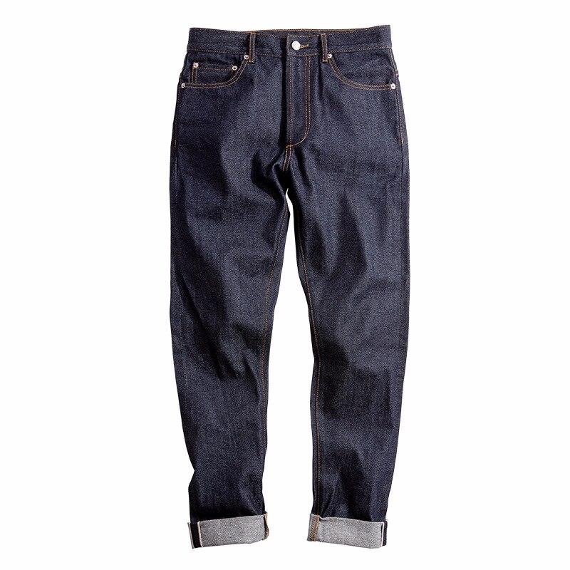 Top Mens Raw Denim jeans Top 14 Oz Cimosa Slim Etero Elasticità Piedi Dei Jeans Safari Stile Lungo Rettilineo Pantaloni casual dei jeans