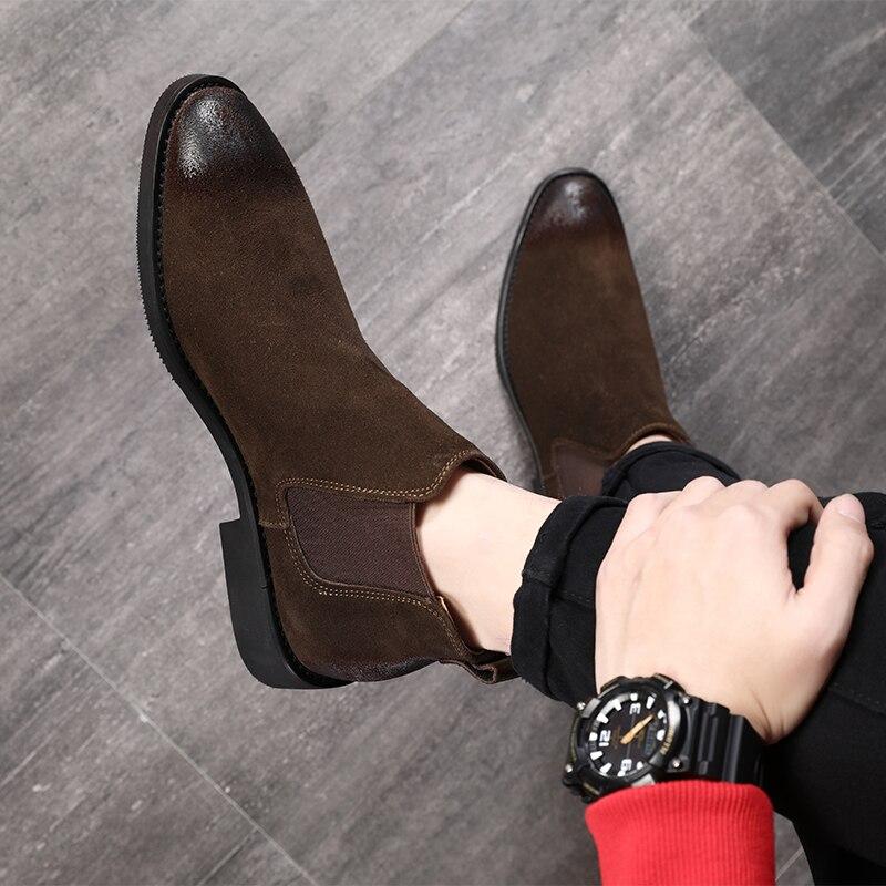 Image 3 - 2019 בציר גברים נעלי עור אמיתי צ לסי מגפי זמש קרסול אתחול גברים של אופנה אביב סתיו מגפיים להחליק על נעליים zapatos-במגפי צלסי מתוך נעליים באתר