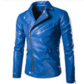 2016 Fashion Stand Collar Motorcycle Leather Clothing Men's Zipper Leather Jacket Male Outerwear Blue Leather & Suede M-5XL