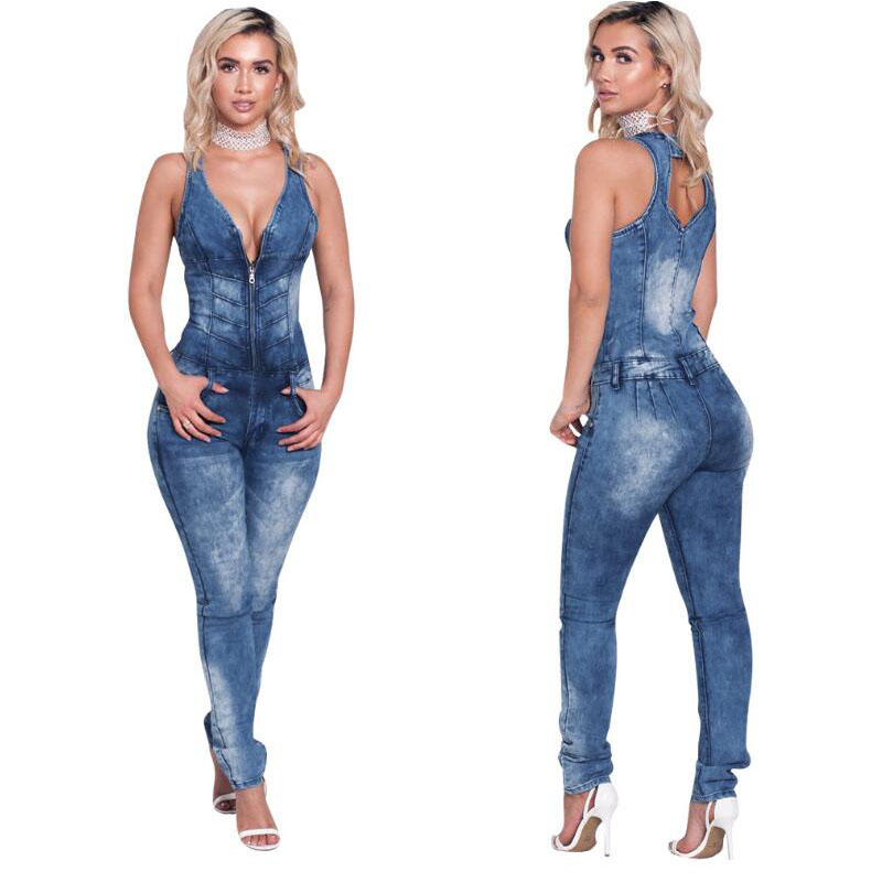 FY 2017 Jumpsuits Women V-neck Sleeveless Jumpsuits Casual Skinny Pockets New Style Sexy Club Denim Jumpsuits Plus Size
