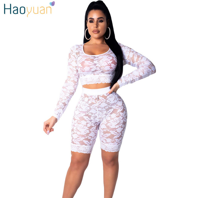 aaca09cbe674 HAOYUAN 2 Two Piece Women Matching Sets Long Sleeve Crop Top and Biker  Shorts Black White Lace See Through Sexy Club Outfits