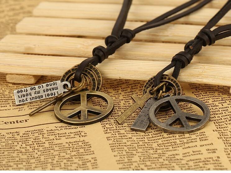Antik Vintage Cross Dog Tag Hollow Peace Symbol Hänge Halsband män - Märkessmycken - Foto 5