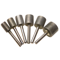 6PCS Diamond Cylindrical Grinding Head 12 14 16 18 20 25mm Cylinder Mounted Points Grinder Drilling