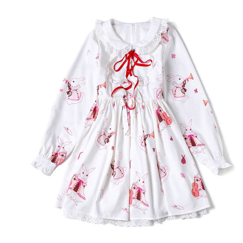 Long sleeves Ruffled collar Girl  Lolita Dress with lace decoration Women Lolita falbala dress musical rabbit costumes