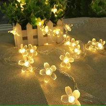 Colorful 4 Meters 40*LEDs Peach Blossom Shape LED Light Outdoor String Lights Christmas Lights For Garden Party Decoration