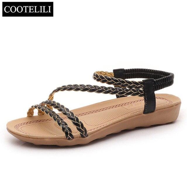 COOTELILI/Женская обувь больших размеров 36-40 модные богемные сандалии на плоской подошве с плетеным носком и бутербродом Летняя Пляжная женская обувь