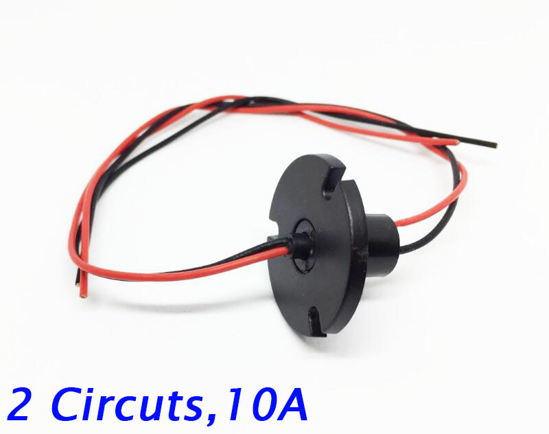 Free Shipping Wind Power Slip Ring 2 Circuits 10A Conductive Slip Ring 360 Degree Rotation Diameter 12.6mm wind power slip ring 2 way 3 road 4 road 5 road 6 road 30a rotating table slip ring slip ring carbon brush