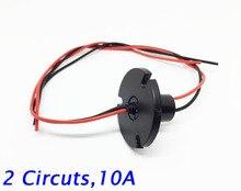 Free Shipping Wind Power Slip Ring 2 Circuits 10A Conductive Slip Ring 360 Degree Rotation Diameter 12.6mm