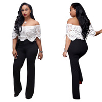 New women's sexy jumpsuits & rompers white hollowed lace top blackpatchwork fashion women jumpers deep V neck hot selling