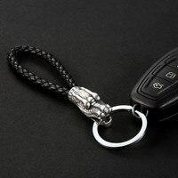Dragon Head 999 Silver Leather Buckle Pendants Man Waist Handing Key Car Rings Creative Gift for Honda Mitsubishi Suzuki Subaru