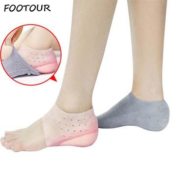 FOOTOUR silikonowe wysokość zwiększenie wkładki poduszka pod pięty podeszwy niewidoczne skarpetki podkładki pod pięty męskie buty kobieta wkładki wkładka do buta tanie i dobre opinie 1 cm-3 cm Gel Insoles Stałe Średnie (b m) Szok-chłonnym Anti-śliskie Lekki Wytrzymałe Szybkoschnący Silicone Insoles