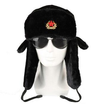 الجيش السوفياتي شارات عسكرية روسيا Ushanka منفذها القبعات الطيار الصياد طيار كاب الشتاء فرو الأرنب الصناعي Earflap الثلوج قبعات