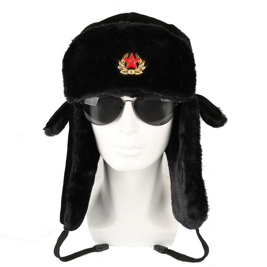 BKONE Soviet Army Military Badge Russia Ushanka Bomber Hats Pilot Trapper Aviator Cap Winter Faux Rabbit Fur Earflap Snow Caps beanie