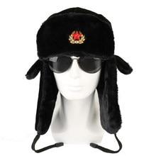 84b5e34745d Soviet Army Military Badge Russia Ushanka Bomber Hats Pilot Trapper Aviator Cap  Winter Faux Rabbit Fur
