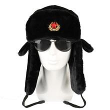Bomber Hats Soviet Army Military Badge Russia Ushanka Pilot Winter Trapper Aviator Cap Faux Rabbit Fur Plush Earflap Snow Caps