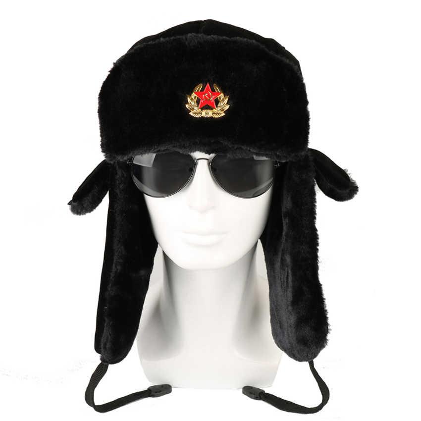 ccec38ec66536 Soviet Army Military Badge Russia Ushanka Bomber Hats Pilot Trapper Aviator Cap  Winter Faux Rabbit Fur