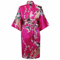Hot Pink Classic Women S Polyester Robe Vintage Kimono Gown Lounge Printed Flower Sleepwear Size S