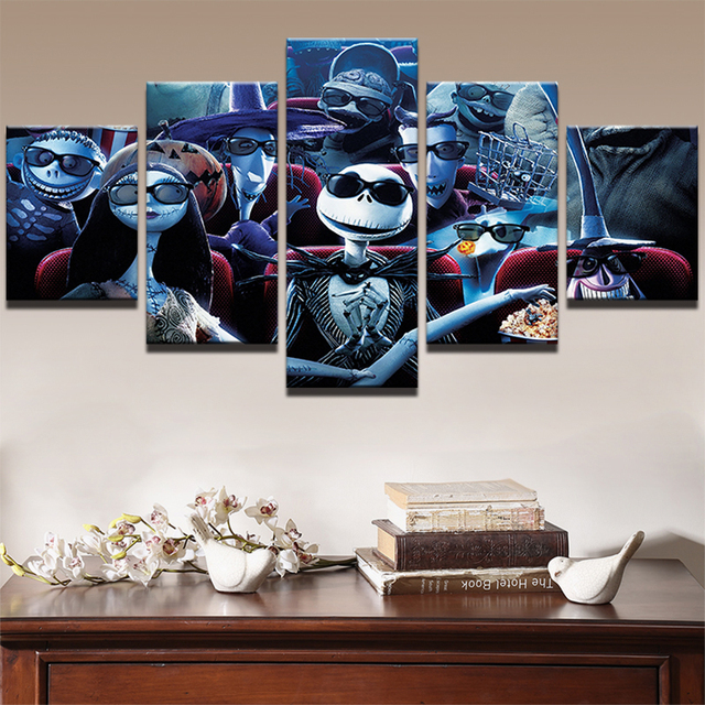 5 Panel Painting Canvas Picture Prints Nightmare Before Christmas Movie Poster Home Decor Frame Bedroom Wall Art For Living Room In Painting
