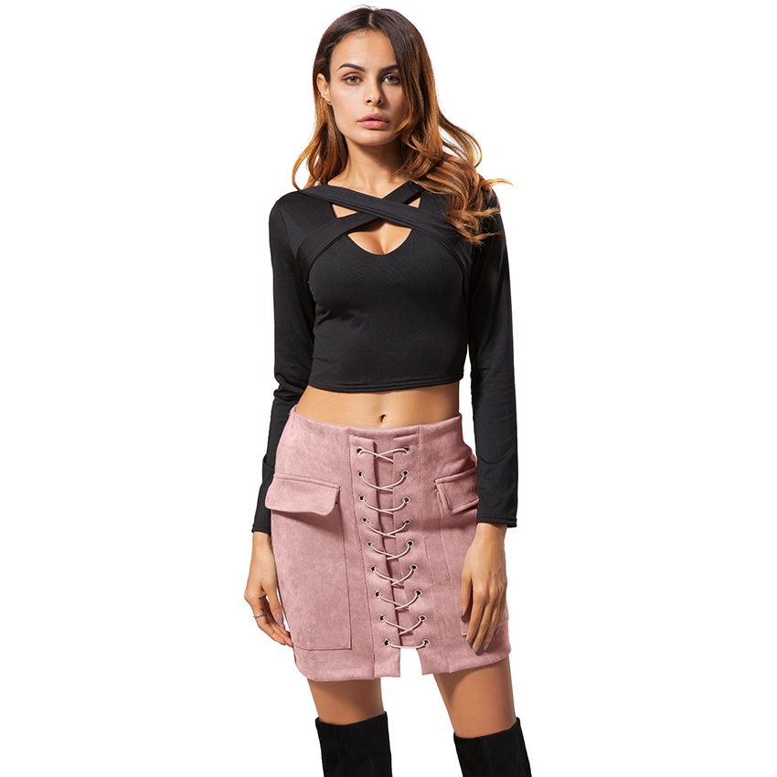 Black Girl Fashion Trends: Suede Skirts Women Fashion Trends Lace Up High Waist