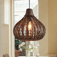 Rattan Lampshade Chandelier Vintage Hand Knitted wicker pendant lamp Vintage Retro Decor Coffee Shop Wood oriental hanging lamp