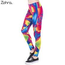 Zohra Brand 2017 New Fashion Women Leggings Ultra Color Face Printing Fitness legging High Waist Woman Stretch Pants