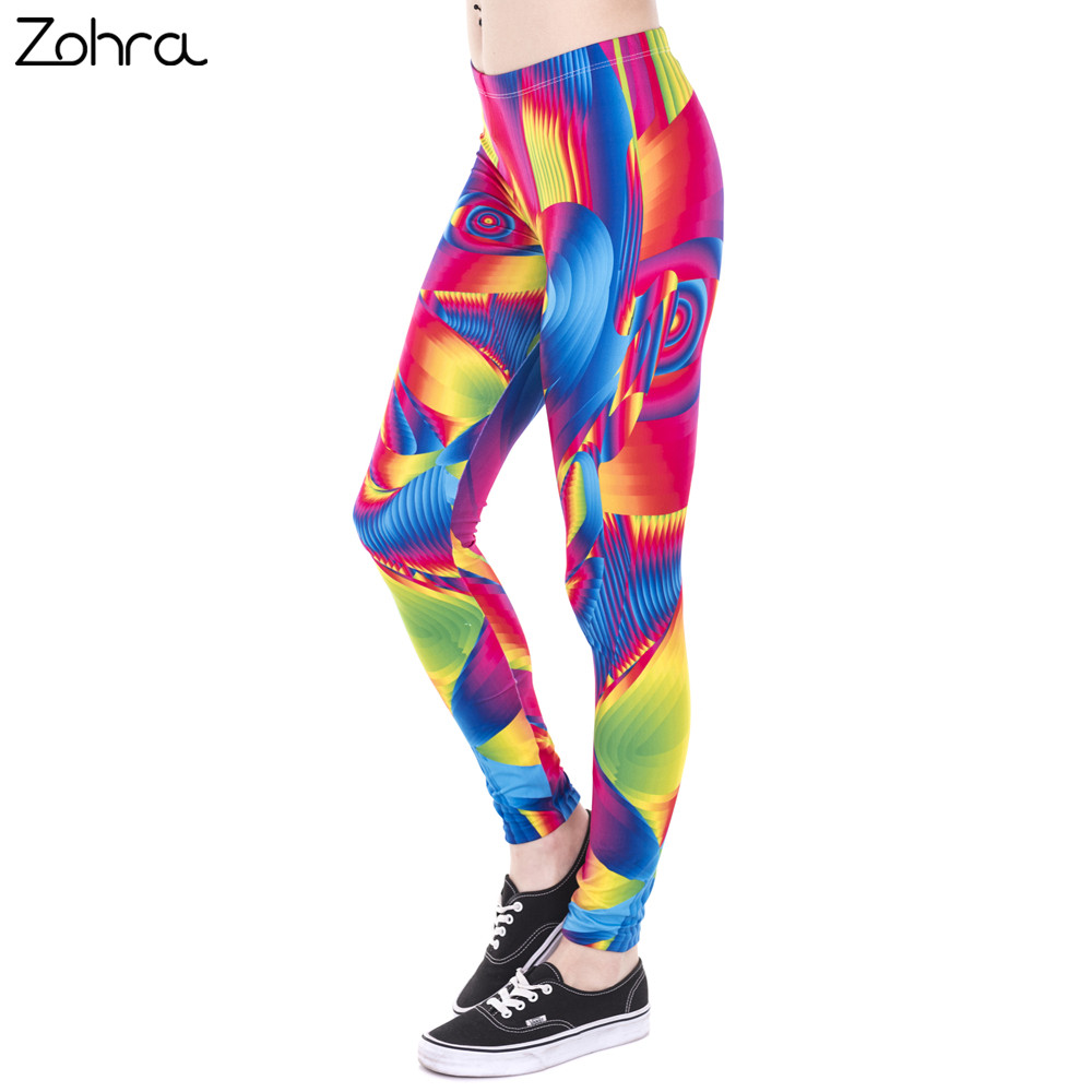 Zohra Brand New Fashion Women Leggings Ultra Color Face Printing Fitness legging High Waist Woman Stretch