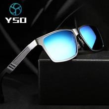 Yso Aluminium Meg Zonnebril Mannen Luxe Merk Gepolariseerde UV400 Bescherming Glazen Voor Rijden Blauwe Lens Zonnebril Voor Mannen 6560