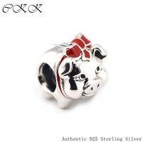 100% 925 Sterling Silber Sparschwein Perlen Black & Red Emaille Charm Perlen für Schmuck Machen Fit Armbänder Diy Edlen Schmuck PF329