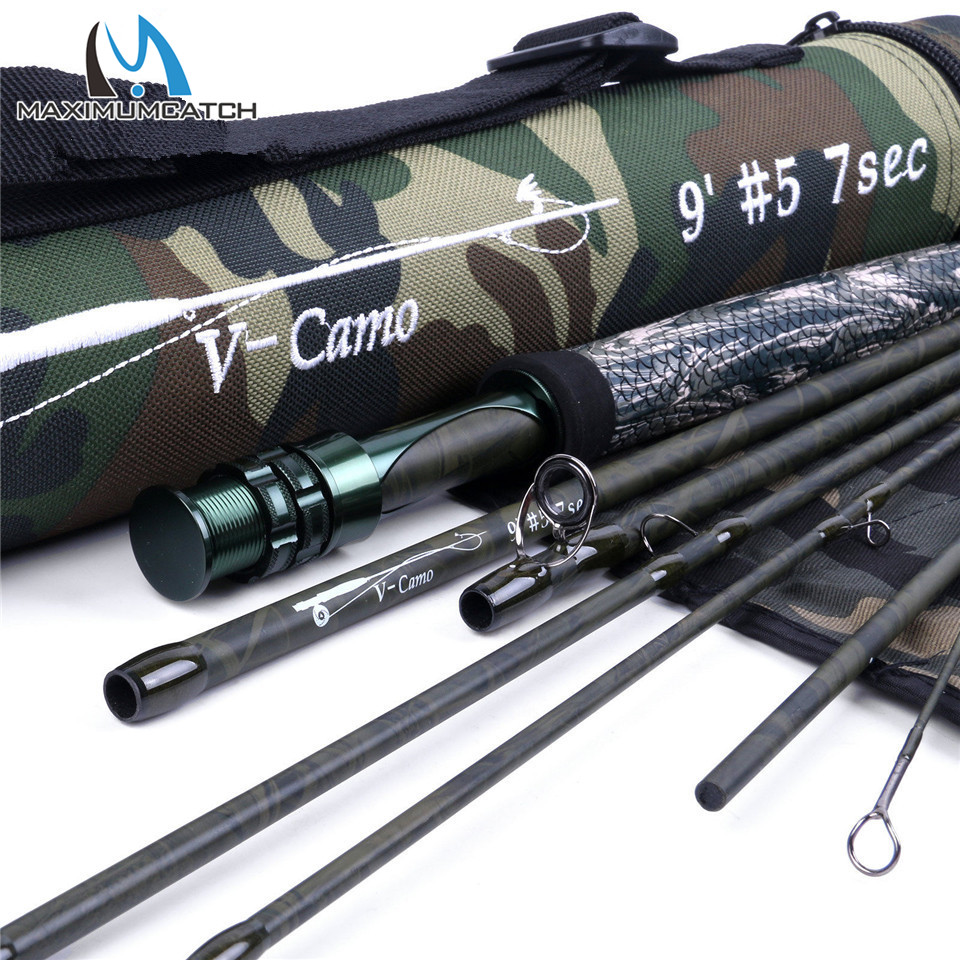 Maximumcatch V-Camo 9FT 5WT Fast Action Fly Rod 10/36T Carbon Fiber 4/7Pieces Fly Fishing Rod & Cordura Tube maximumcatch top grade 4wt 5wt 6wt 7wt 8wt fly rod 9ft carbon fiber fast action black star fly fishing rod with cordura tube