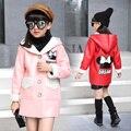 Новый стиль дети девочка шерстяной мех теплый кожаная куртка младенческая женский детские зимние кожаные пальто красный доры розовый цвет