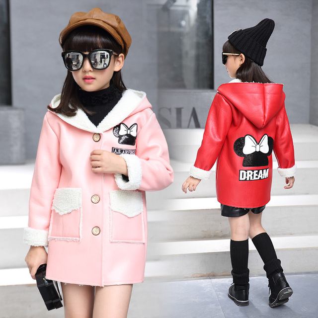 New style children baby girl woolen fur warm leather jacket infant female kids winter leather trench coat red balck pink color