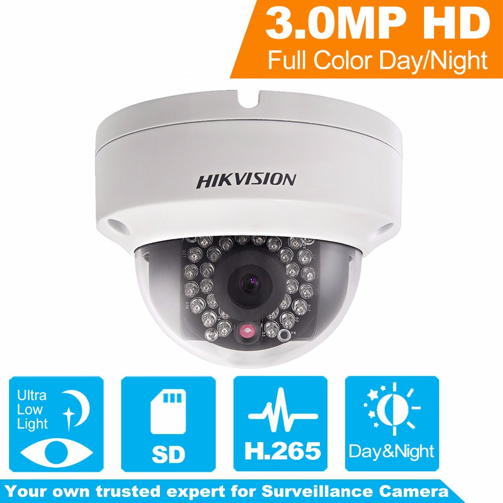 Hikvision H.265 PoE IP Camera DS-2CD2135FWD-I 3MP WDR Fixed Network Camera Built-in SD Card Slot replace DS-2CD2135F-IS multi language ds 2cd2135f is 3mp dome ip camera h 265 ir 30m support onvif poe replace ds 2cd2132f is security camera