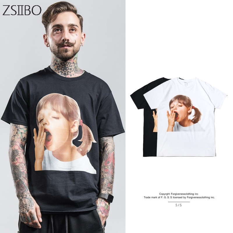 Harajuku Yawning girl face Print Man 39 s T shirt loose couple Short sleeve tshirt street trend hiphop Tops M XXXL in T Shirts from Men 39 s Clothing