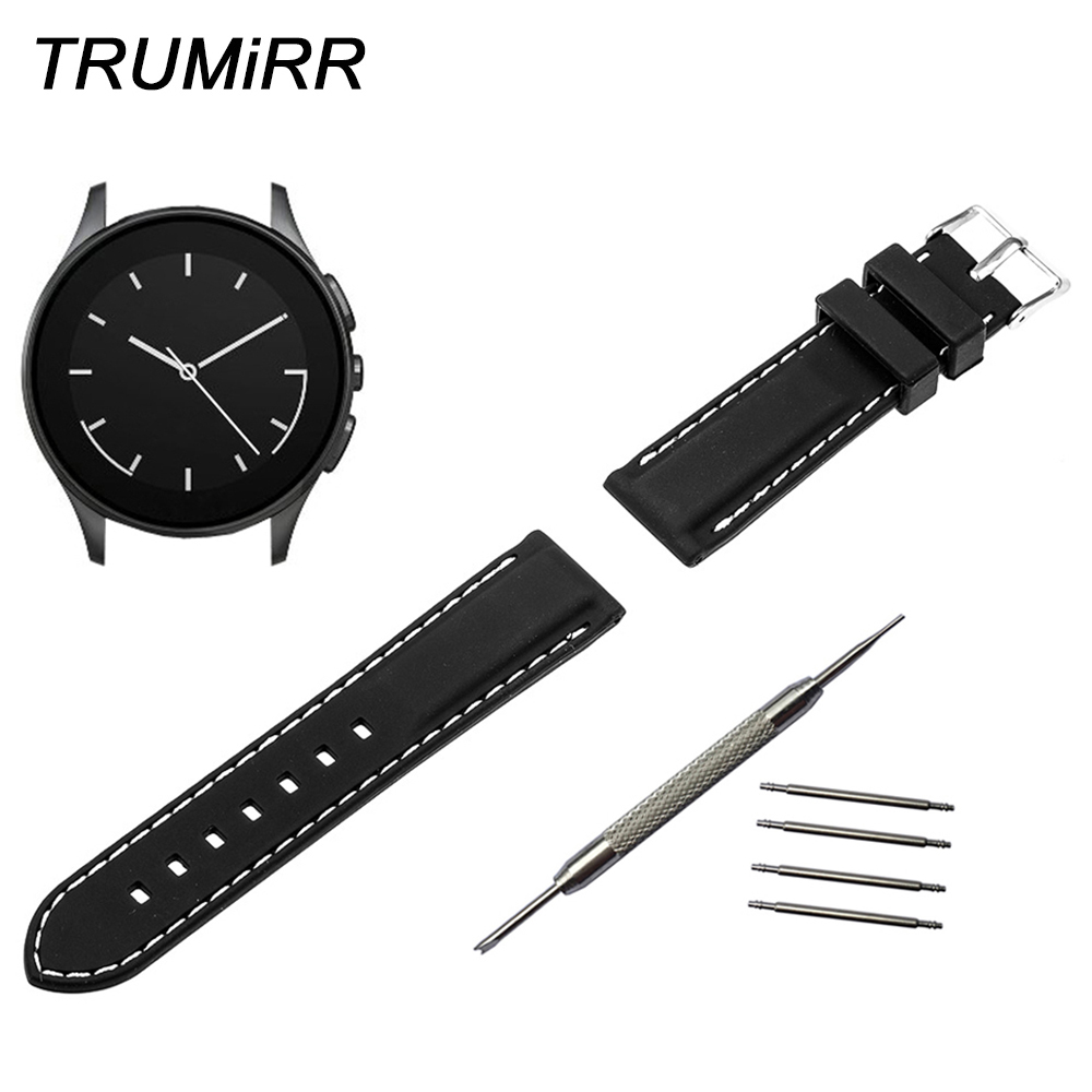22mm Silicone Rubber Watchband for Vector Luna Meridian Smart Watch Band Replacement Bracelet Resin Strap Black Red + Tool + Pin strap
