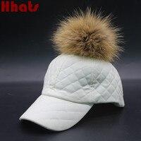 אשר במקלחת נשים טבעיות נדל דביבון הפרווה פום פום משובץ חורף PU כובע ריק כובע בייסבול כובע Snapback Pompom פרווה עור פו