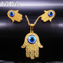 Gold Plated Blue Evil Eye Jewelry Set Turkish Jewellery Fatima Hand Stainless Steel Jewelry Sets Women conjuntos de joyas N68293