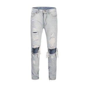 2019 Vintage Mens Biker Jeans hip hop Slim Fit Washed Hole Denim Pants Joggers Skinny Men side  street wear ripped jeans