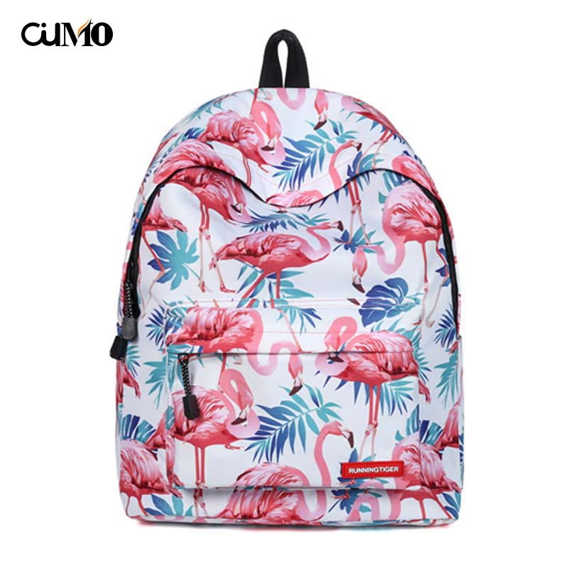 Ou Mo brand ins Flamingo  Boys/Girls child Schoolbag computer anti theft backpack feminina High capacity Women Bag man