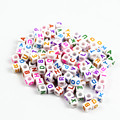 100PCS Mixed White Color Cubic Plastic 26 letter Charm Beads Jewelry Accessories Necklace Bracelet Beads Hot Sale PZ7