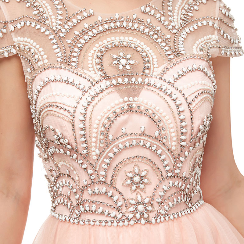 Image 5 - New Formal Wear 3 Layers Evening Long Dresses Elegant Women Tulle Cap Sleeve Beading Prom Party Gowns Special Occasion L5222Evening Dresses   -