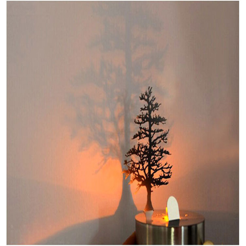 Creative shadow projection lamp stainless steel LED electronic light candle light birds group pine light sleep night light