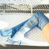 Джинсовые эластичные сапоги с дырками, женские сапоги выше колена на платформе с круглым носком, весенне осенняя женская обувь на высоком к