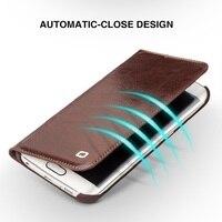Pour Samsung Galaxy s6 et s6 bord et s6 bord plus cas Qialino Réel en cuir Flip Portefeuille Ultra Mince Couverture de Cas pour Samsung S6 cas