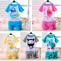 Fashion Children Baby Boys Clothes Character Pink T-shirts Set Summer Blue Undershirt Clothing Cotton Short T-Shirt +Pants Sets
