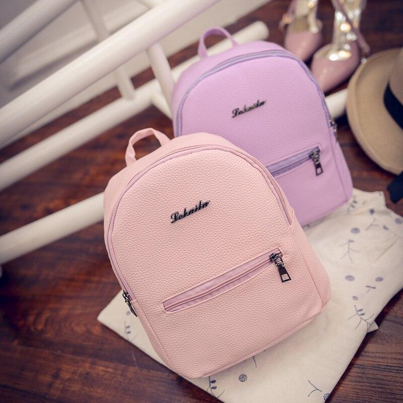 Backpack Shoulder Bag Pu Leather School Backpack Female Light Pink Green For Teenage Girls Kawaii