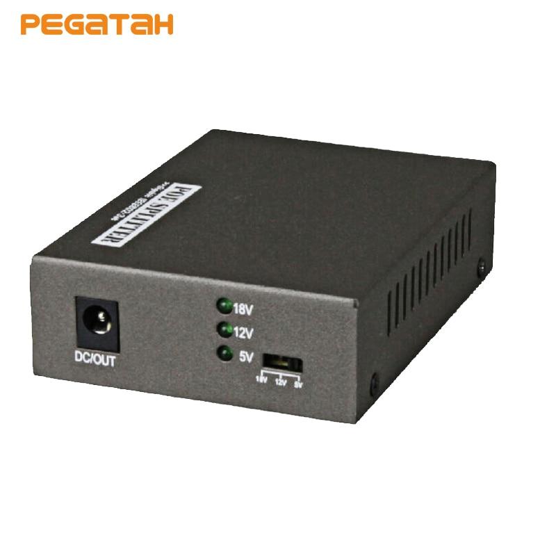 New Gigabit 10/100/1000 Mbps Network Data Rate IEEE 802.3at/af PoE Splitter Adapter 5V(3.5A)/12V(2A) /18V(1A) Power Output